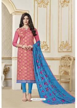 Light Pink Banarasi Jacquard Straight Suit