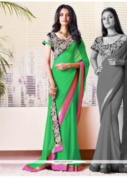Delightful Green Faux Georgette Saree