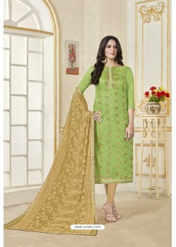 Green Banarasi Jacquard Straight Suit