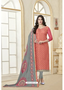 Peach Banarasi Jacquard Straight Suit