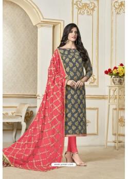 Grey Banarasi Jacquard Straight Suit
