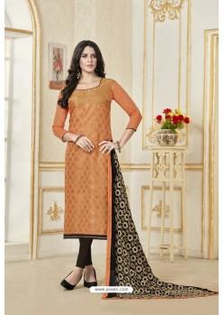 Light Orange Banarasi Jacquard Straight Suit