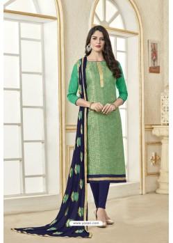 Jade Green Banarasi Jacquard Straight Suit