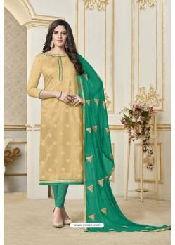 Cream Banarasi Jacquard Straight Suit
