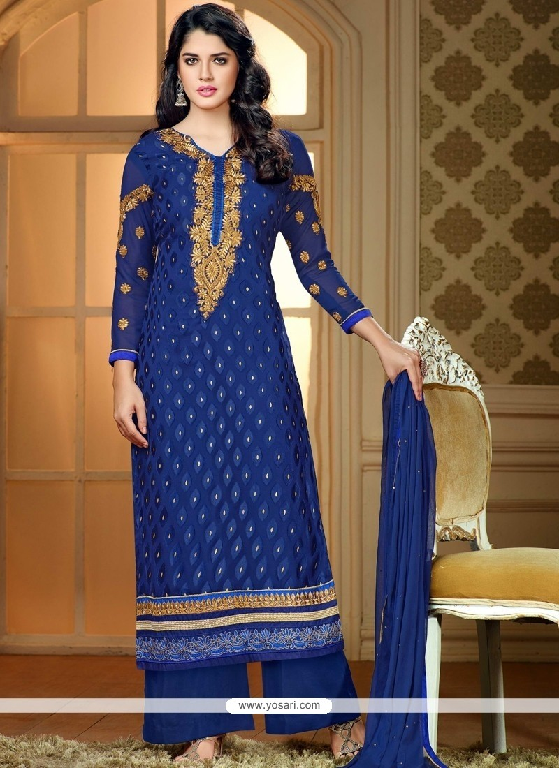 Refreshing Blue Zari Work Palazzo Suit