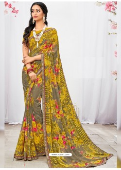 Yellow And Taupe Georgette Printed Saree