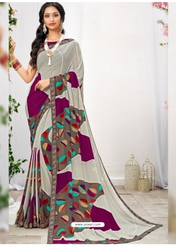 Off White And Multi Georgette Printed Saree