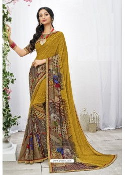 Marigold Georgette Printed Saree