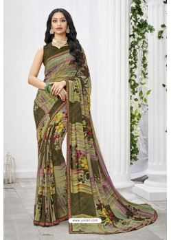 Pleasing Multi Colour Georgette Printed Saree