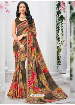 Sensational Multi Colour Georgette Printed Saree