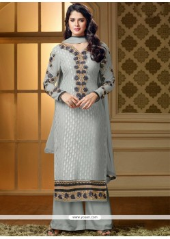 Simplistic Grey Brasso Palazzo Salwar Suit