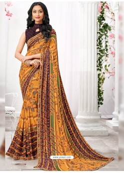 Light Orange Georgette Printed Saree