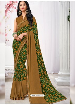Brown And Green Georgette Printed Saree