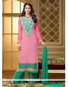Alluring Pink Brasso Palazzo Salwar Suit