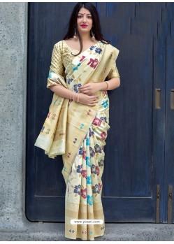 Cream Pure Jamdani Silk Jacquard Worked Designer Saree