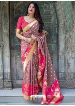 Old Rose Pure Jamdani Silk Jacquard Worked Designer Saree