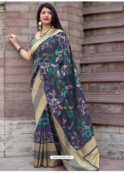 Dark Blue Pure Jamdani Silk Jacquard Worked Designer Saree