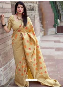 Light Beige Pure Jamdani Silk Jacquard Worked Designer Saree