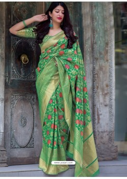 Jade Green Pure Jamdani Silk Jacquard Worked Designer Saree