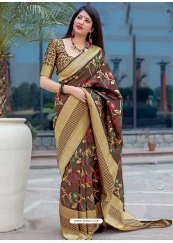 Coffee Pure Jamdani Silk Jacquard Worked Designer Saree