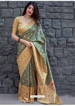 Grayish Green Pure Jamdani Silk Jacquard Worked Designer Saree