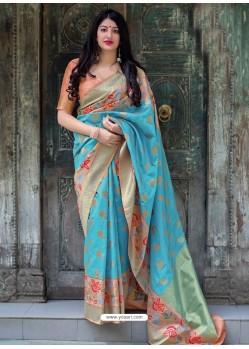Sky Blue Pure Jamdani Silk Jacquard Worked Designer Saree