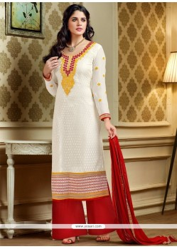 Glorious White Resham Work Palazzo Suit