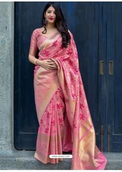 Pink Pure Jamdani Silk Jacquard Worked Designer Saree