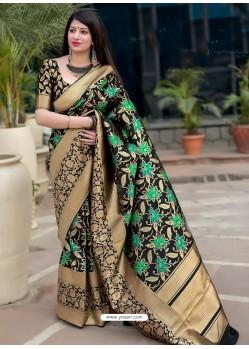 Black Pure Jamdani Silk Jacquard Worked Designer Saree