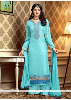 Turquoise Blue Resham Work Brasso Palazzo Suit