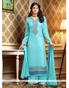 Turquoise Blue Resham Work Brasso Palazzo Suit