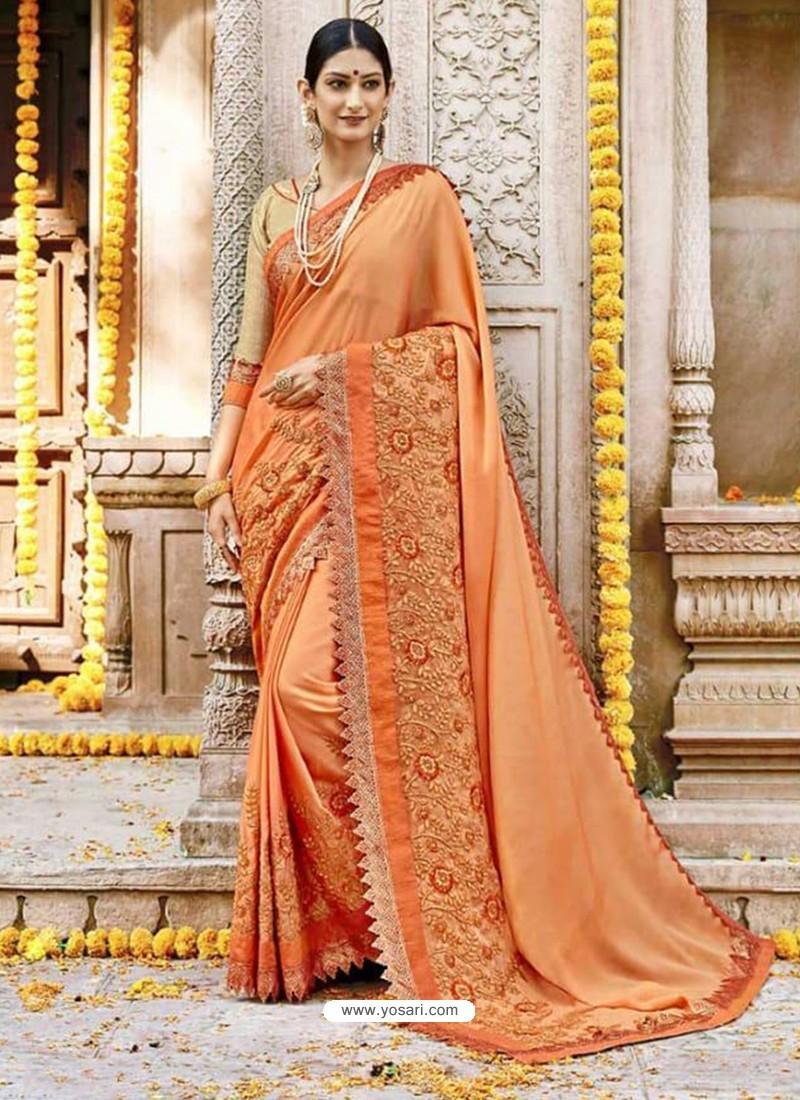 47e7501a3eb39d Buy Orange Georgette Embroidered Saree | Designer Sarees