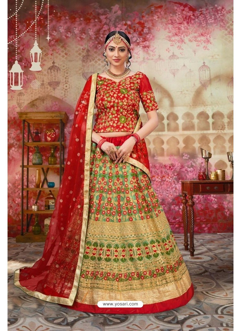 Red And Green Silk Embroidered Designer Lehenga Choli