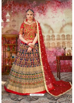 Red And Blue Silk Embroidered Designer Lehenga Choli