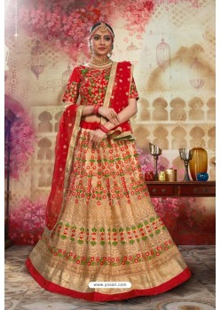 Red And Beige Silk Embroidered Designer Lehenga Choli