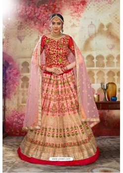 Red And Pink Silk Embroidered Designer Lehenga Choli