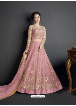 Pink Net Heavy Embroidered Floor Length Lehenga Suit