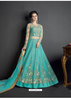 Aqua Blue Net Heavy Embroidered Floor Length Lehenga Suit