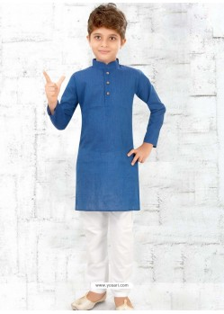 Lovely Blue Cotton Kurta Pajama