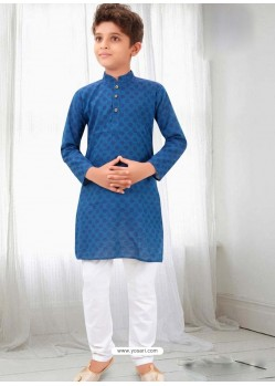 Decent Blue Cotton Kurta Pajama