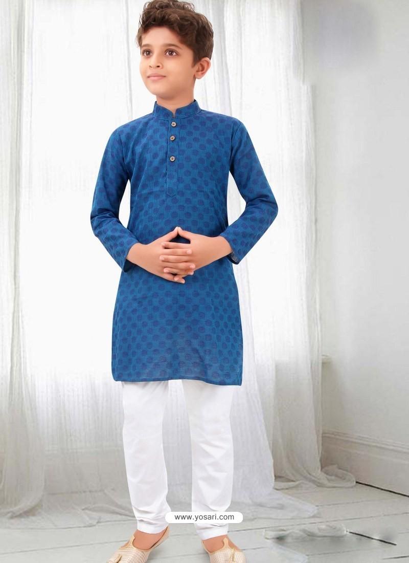 Decent Blue Cotton Kurta Pajama