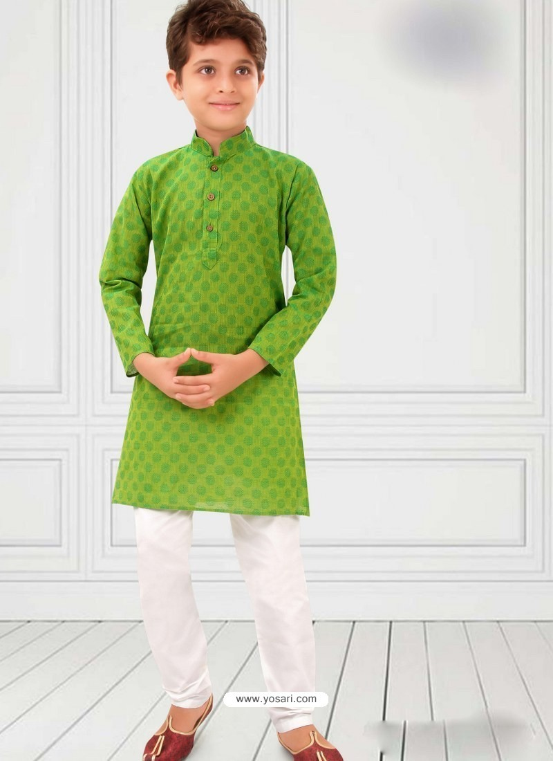 Green Cotton Kurta Pajama