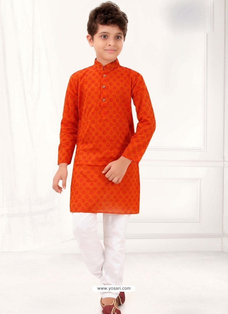Eyeful Tomato Red Cotton Kurta Pajama