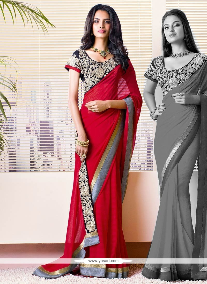 Red Georgette Embroidery Saree
