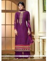Embellished Purple Brasso Palazzo Suit