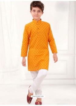 Mustard Cotton Kurta Pajama