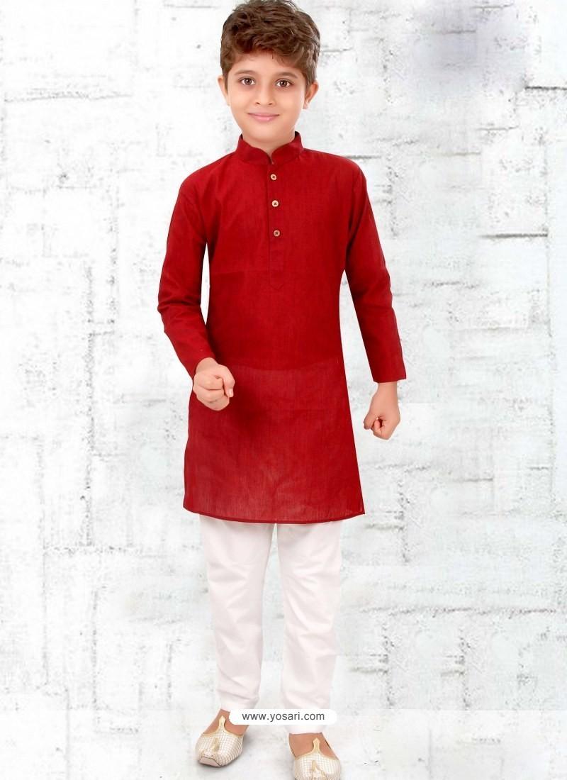 Maroon Cotton Kurta Pajama