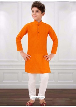 Orange Cotton Kurta Pajama