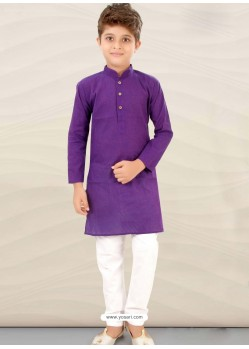 Violet Cotton Kurta Pajama