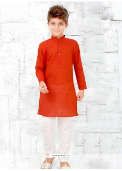 Tomato Red Cotton Kurta Pajama